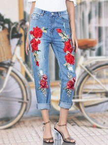 Light Blue Embroidery Zipper High Waist Long Jeans