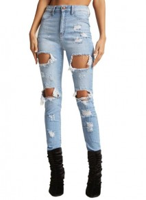 Light Blue Cut Out Buttons Pockets Ripped Destroyed Boyfriend Long Jeans