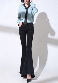 Black Patchwork Pockets Irregular Zipper Fashion Long Bell Bottom Jeans