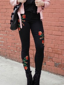 Black Floral Embroidery Zipper High Waisted Long Jeans