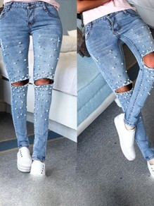 Light Blue Beading Cut Out Buttons Zipper Fashion Long Jeans
