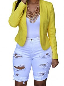White Cut Out Pockets Ripped Plus Size High Waisted Trendy Clubwear Short Jeans