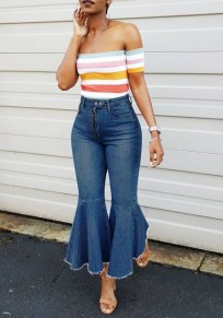 Blue Buttons Pockets High Waisted Mom Boyfriend Casual Flare Bell Bottom Long Jeans
