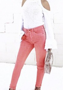 Pink Pockets Buttons High Waist Long Jeans