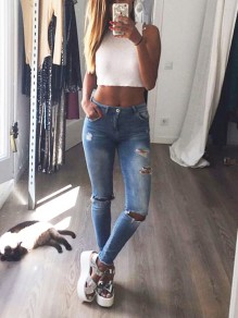 Blue Cut Out Ripped Pockets Skinny High Waisted Fashion Casual Long Jeans