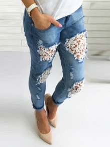 Light Blue Patchwork Lace Pockets Cut Out High Waisted Fashion Long Jeans