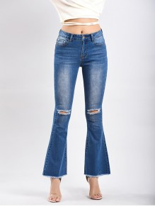 Light Blue Buttons Cut Out Distressed Casual High Waisted Bell Bottomed Flares Long Jean