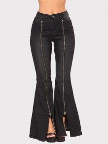 Black Pockets Zipper Buttons High Waisted Slit Bell Bottom Jeans