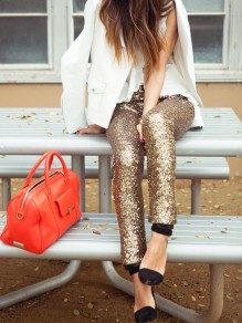 Golden Plain Sequin Elastic Waist Fashion Long Leggings