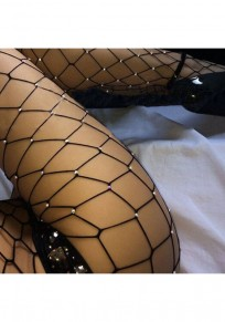 Black Patchwork Rhinestone Sewing High Waisted Bedazzled Fishnet Tights Legging