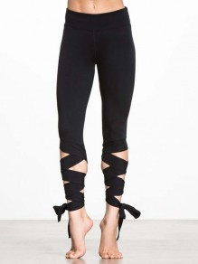 Black Elastic Waist Lace-up Mid-rise Yoga Bodycon Sports turnout leggings