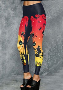Black The Witch Print High Waisted Hallowmas Fashion Legging