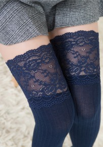 Navy Blue Patchwork Lace Draped Elastic Waist Fashion Long Leggings
