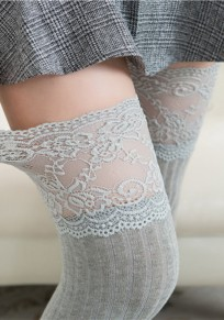 Light Grey Patchwork Lace Draped Elastic Waist Fashion Long Leggings