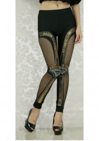 Black Patchwork Sequin Grenadine High Waisted Club Long Legging