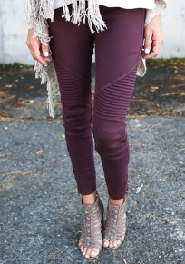 Wine Red Plain Zipper Elastic Waist Casual Long Leggings