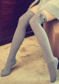 Light Grey Love Lace Bow Elastic Waist Sweet Overknee Leggings