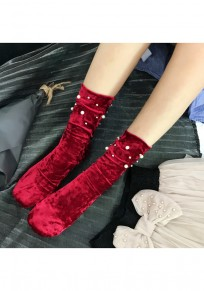 Wine Red Patchwork Pearl Fashion Pleuche Short Socks Women Legging