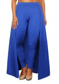 Blue High Waisted Slim Christmas Party Casual Legging With Overlay