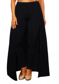 Black High Waisted Slim Christmas Party Casual Legging With Overlay