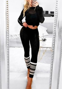 Black Striped Print Skinny High Waisted Sports Yoga Long Legging