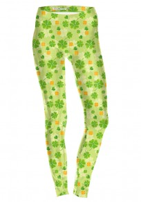 Green Floral Saint Patrick's Day Four Leaf Clover Fashion Yoga Legging