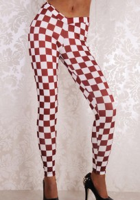 Burgundy-White Checkered Plaid Sports Yoga Workout Long Legging