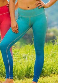 Blue Gradient Color Skinny High Waisted Sports Yoga Workout Long Legging
