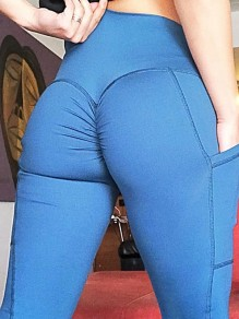 Blue Pleated Pockets High Waisted Sports Yoga Workout Big Booty Long Legging