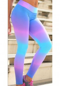 Blue Rainbow Color Block Print Sports Yoga Workout Long Legging