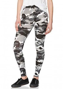 Black Camouflage Print Skinny Sports Yoga Workout Long Legging