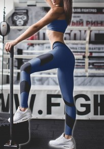 Blue Color Block High Waisted Sports Yoga Workout Long Legging