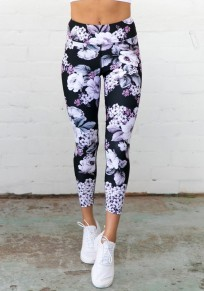 Black Flowers Print High Waisted Sports Yoga Workout Nine's Legging