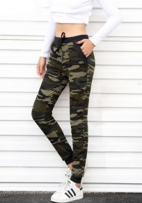 Green Camouflage Print Drawstring High Waisted Sports Yoga Workout Long Legging