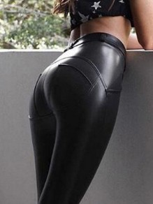 Black PU Leather Skinny High Waisted Going out Yoga Long Legging