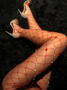 Red Patchwork Cut Out Rhinestone Mesh Sheer Fashion Club Long Leggings