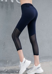 Blue Patchwork Grenadine High Waisted Sports Yoga Workout Seven's Legging