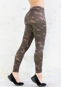 Green Camouflage Print Cargo High Waisted Sports Yoga Workout Long Legging