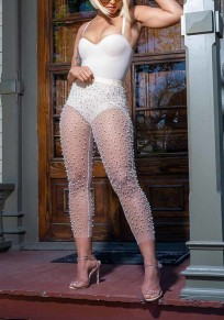 White Grenadine Beading High Waisted Sheer Bodycon Clunwear Party Long Legging