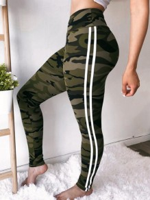 Army Green Camouflage Print Camo Elastic Waist High Waisted Booty Yoga Sports Long Legging