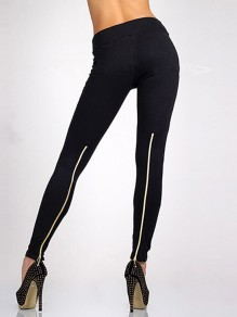 Black Zipper High Waisted Casual Push Up Long Casual Sports Leggings