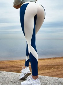 Blue White Patchwork High Waisted Casual Long Legging