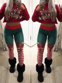 Red Green Striped Print Skinny High Waisted Sports Legging