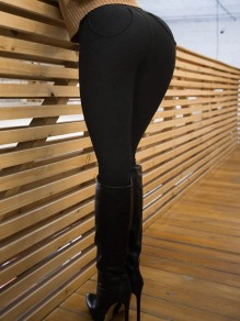 Black High Waisted Casual Sports Long Legging