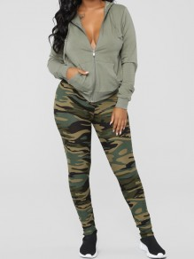 Green Camouflage Print High Waisted Sports Legging