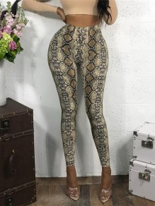 Grey Floral Snakeskin Pattern Print High Waisted Fashion Legging