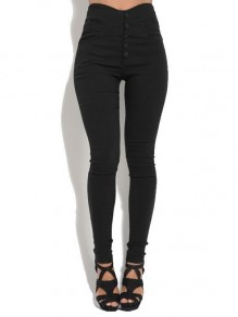 Black Buttons Pockets High Waisted Fashion Leggings