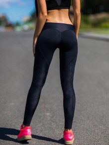 Black Patchwork Yoga High Waisted Sports Long Fashion Leggings