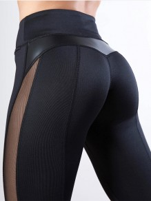 Black Patchwork Grenadine High Waisted Sports Skinny Long Legging