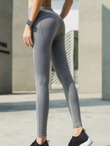 Grey High Waisted Sports Yoga Skinny Long Legging